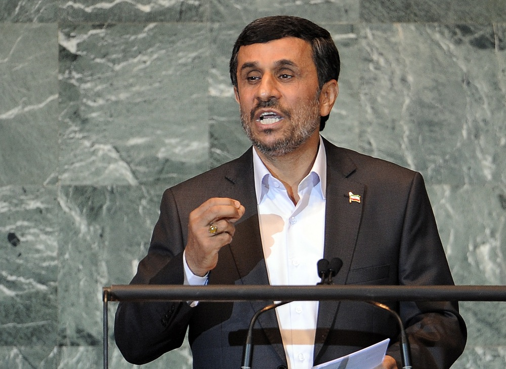 Iran's Mahmoud Ahmadinejad delivers his address to the 66th UN General Assembly on Sept. 22. Credit: EPA/JUSTIN LANE.