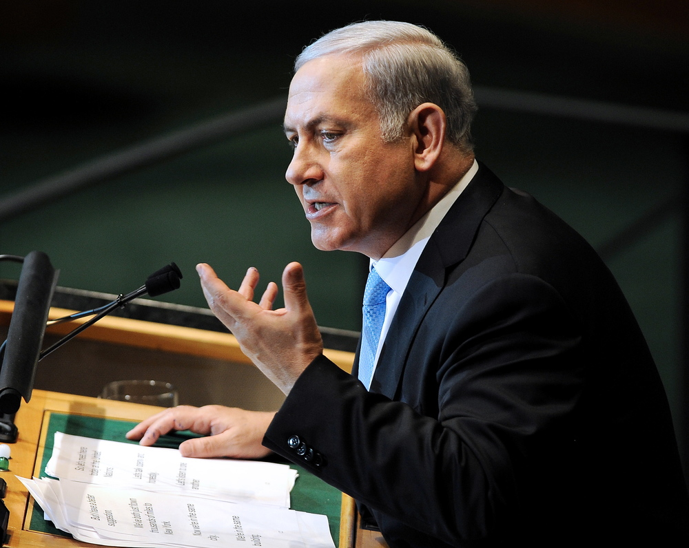 Prime Minister Benjamin Netanyahu speaks to the 66th UN General Assembly an Friday, responding to Palestinian Authority President Mahmoud Abbas. Credit: EPA/JUSTIN LANE.