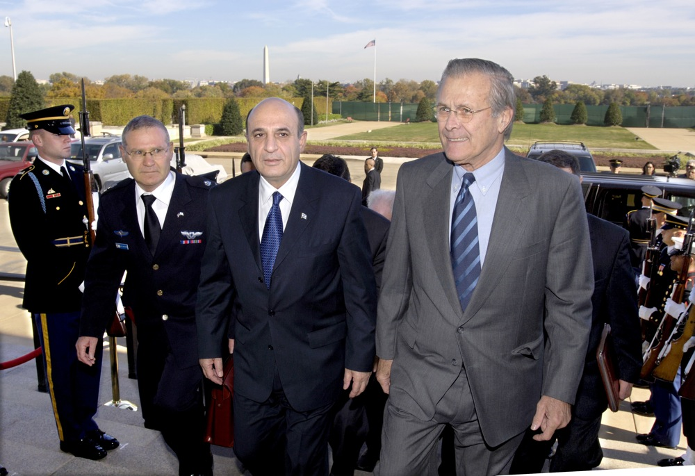 From left to right, in November 2005, Defense Attache at the Israeli Embassy Maj. Gen. Amos Yadlin, Israeli Minister of Defense Shaul Mofaz, and U.S. Secretary of Defense Donald Rumsfeld. Credit: Robert D. Ward.