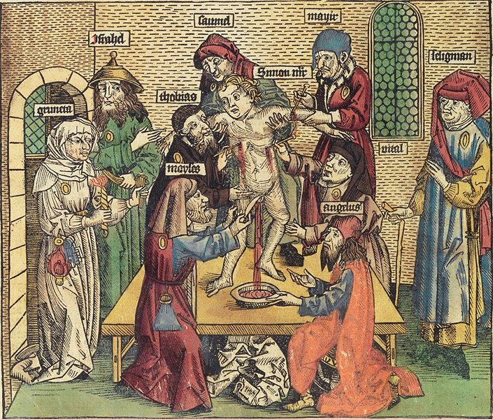 Click photo to download. Caption: Blood libel illustration from Hartmann Schedel's Nuremburg Chronicle (Buch der Chroniken) printed in the 15th century. This century-old myth was reused by a Palestinian organization in an article on its website. Credit: Wikimedia Commons.