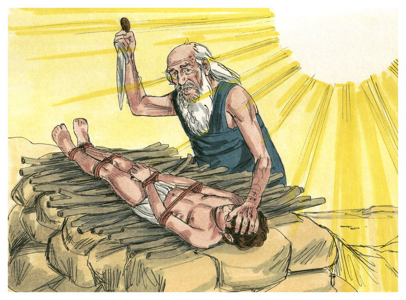 Click photo to download. Caption: Abraham's binding of Isaac. Credit: Biblical illustrations by Jim Padgett, courtesy of Sweet Publishing via Wikimedia Commons.