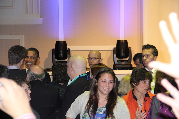 Click photo to download. Caption: President Barack Obama (back, far right) mingles with attendees at the URJ convention. Credit: Philip Deitch.