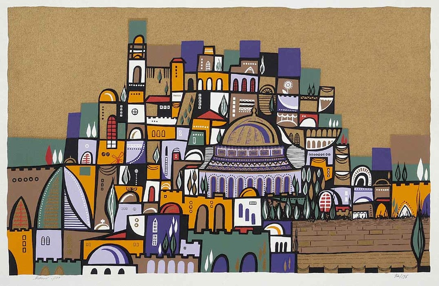 "Click photo to download. Caption: ""Jerusalem of Gold II,"" a 1969 Lithograph by Naim Basson featured by the Safrai Fine Art Gallery. Credit: Safrai Fine Art Gallery."