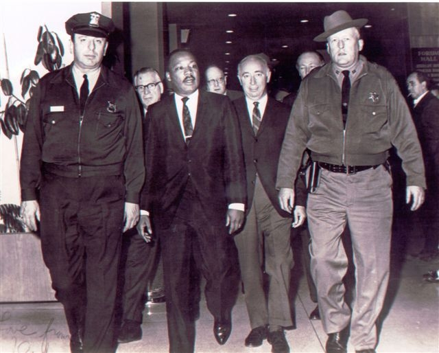 Click photo to download. Caption: Rabbi Ralph Simon escorting Dr. King during the National Rabbinical Convention on March 25, 1968. Credit: Courtesy of Ethan Simon.