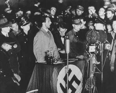 Click photo to download. Caption: Joseph Goebbels, German propaganda minister, speaks on the night of book burning. Berlin, Germany, May 10, 1933. Credit: United States Holocaust Memorial Museum.