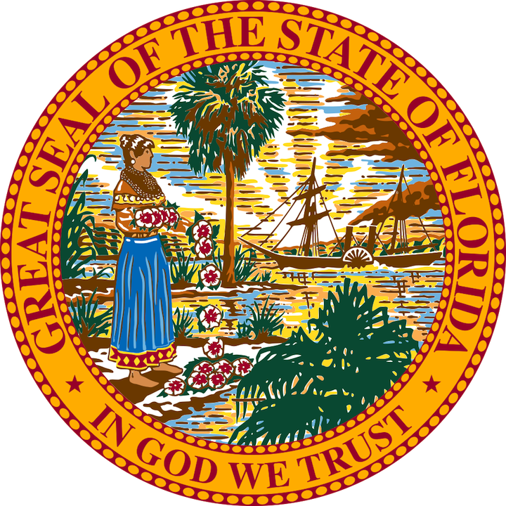 Click photo to download. Caption: The state seal of Florida. Credit: PD.