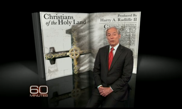 "Click photo to download. Caption: Reporter Bob Simon on the controversial CBS ""60 Minutes"" Holy Land Christians program. Credit: CBS."