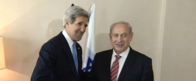 John Kerry and Benjamin Netanyahu meet in Jerusalem. Credit: Screenshot of Israel Hayom video.