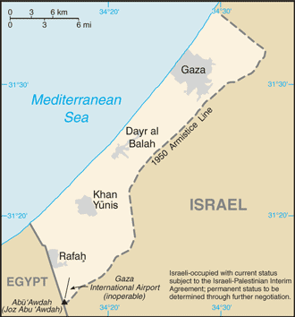 Click photo to download. Caption: More than 50 percent of Palestinians in Gaza and the West Bank oppose armed conflict against Israel, a new survey shows. Credit: CIA World Factbook via Wikimedia Commons.