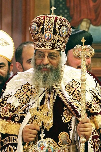 Click photo to download. Caption: The Egyptian Coptic Christian Pope, Tawadros II, who has been highly critical of Egyptian President Mohamed Morsi. Credit: Wikimedia Commons.