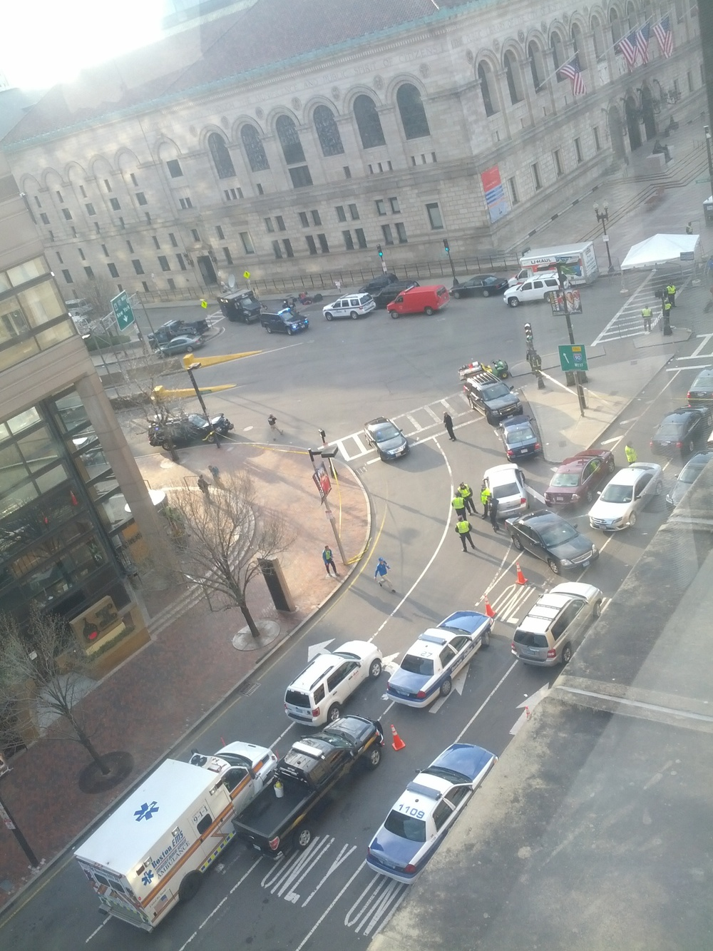 Click photo to download. Caption: The scene from the fifth floor of the Fairmont Copley Plaza in Boston following Monday's Boston Marathon bombings. Credit: Courtesy of Kevin Goodman.