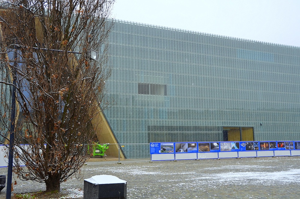 Click photo to download. Caption: The Museum of the History of Polish Jews, in Warsaw, as its building was nearing completion in the winter of 2012. The museum opens to the public on April 19, 2013. Credit: Maxine Dovere.