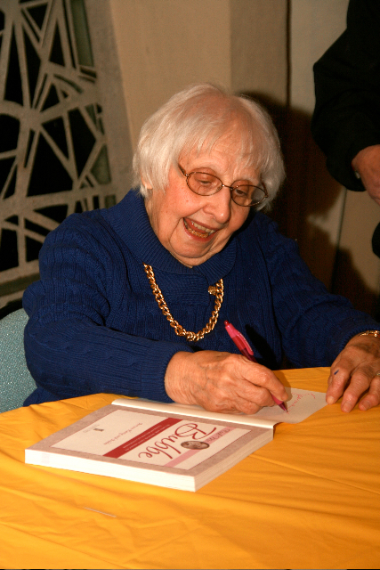 Click photo to download. Caption: Bubbe signs her award-winning book. Credit: White Leaf Creative Studio/Alyssa E. Weisblatt.