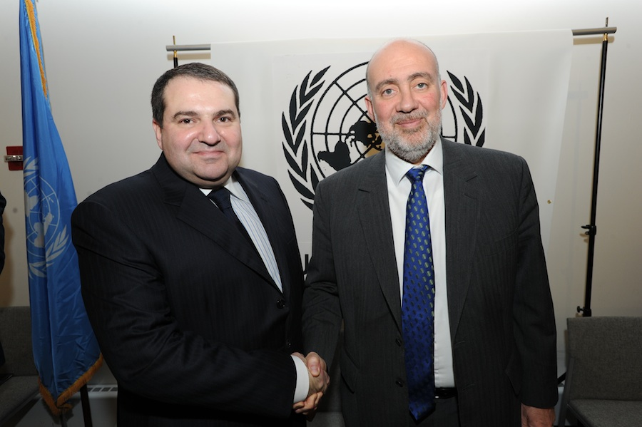 Click photo to download. Caption: Left, Alexander L. Levin, president of the Greater Kiev Jewish Community, with Israel's Ambassador to the UN Ron Prosor. Credit: Shahar Azran.