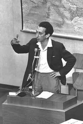 Click photo to download. Caption: Abba Kovner testifying at Adolf Eichmann's trial, Jerusalem 1961. Credit: Israel National Photo Collection.