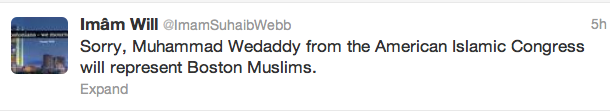 Click photo to download. Caption: Imam Suhaib Webb tweets that Nasser Wedaddy, not Webb, would be the Muslim speaker at Thursday's interfaith service in Boston for the Boston Marathon attack victims. Credit: Twitter.