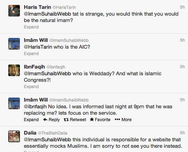 Click photo to download. Caption: A Twitter conversation between Imam Suhaib Webb and other users in which Webb reveals he was replaced as the Muslim speaker at Thursday's interfaith service in Boston for the Boston Marathon attack victims. Credit: Twitter.