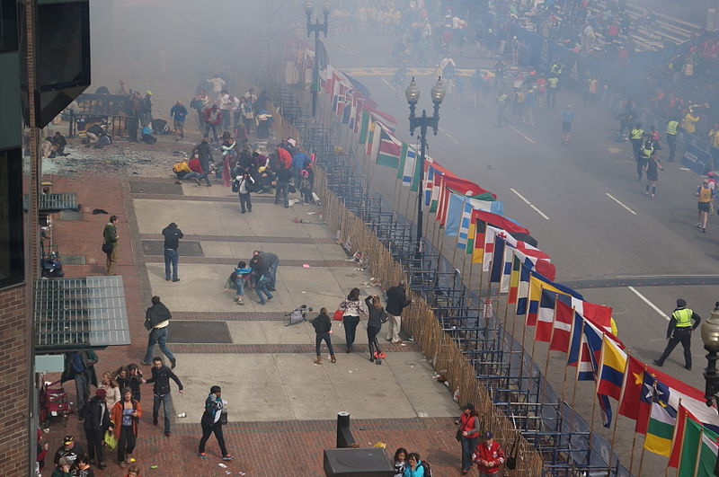 Caption: Three people were killed and more than 100 wounded in the Boston Marathon Bombings Monday, April 15. Credit: Wikimedia Commons via Aaron Tang.