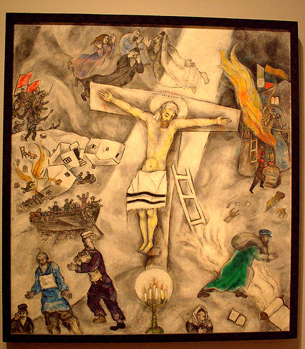 "March Chagall's ""White Crucifixion,"" depicted Jesus' crucifixion with strong Jewish imagery, thereby tying the holidays of Passover and Easter even closer together. Note: This is a screen grab, not the hi-res image. The original image belongs to the Art Institute of Chicago."