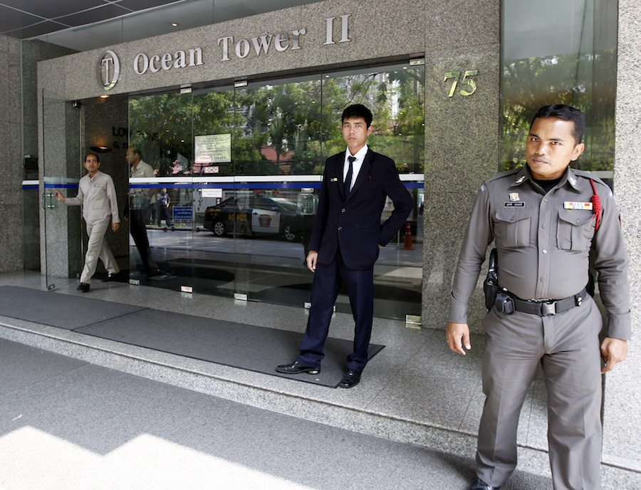 Click photo to download. Caption: Thai police and security personnel guard the entrance of a building where the Israeli embassy is located in central Bangkok, Thailand, on Feb. 18, 2012. Heavy security was provided for the Israeli embassy following the series of three bomb explosions by suspected Iranian bombers on Feb. 14, 2012, reportedly part of an operation to target Israel's diplomats and interests in Thailand. Credit: EPA/RUNGROJ YONGRIT.