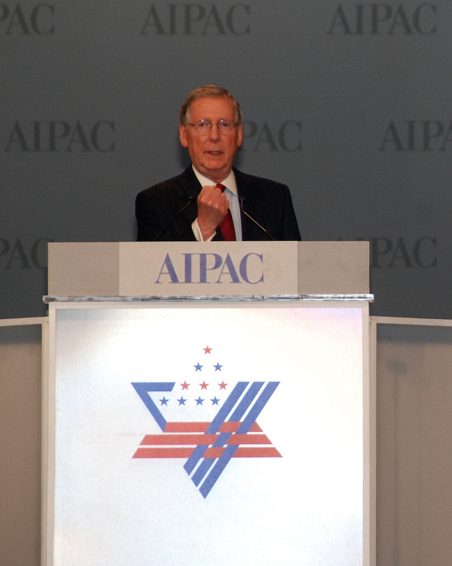 Click photo to download. Caption: Senate Minority Leader Mitch McConnell speaks at the AIPAC conference Monday night. Credit: Maxine Dovere.