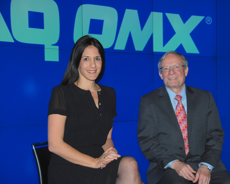 "Click photo to download. Caption: Arison Investments CEO Efrat Peled with Israel ""Izzy"" Tapoohi, president and CEO of Israel Bonds, at the broadcast studios of the NASDAQ Marketplace in New York on March 12. Credit: Maxine Dovere."