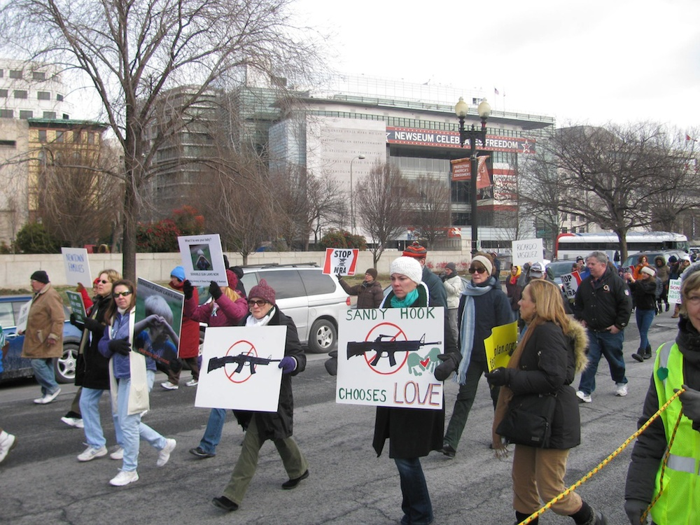 Click photo to download. Caption: The March on Washington for Gun Control, on Jan. 26, 2013, in the aftermath of the school shooting that killed 26 in Newtown, Connecticut. Credit: Slowking4/Wikimedia Commons.