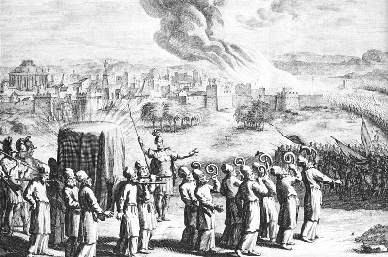The Ark of the Covenant with golden staves carried by the priests, and seven priests with rams' horns, at the siege of Jericho, in an eighteenth-century artist's depiction. Credit: Wikimedia Commons.