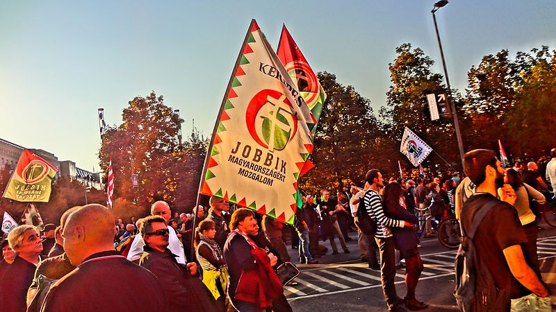 Click photo to download. Caption:  Hungarian extreme-right Jobbik party manifestation in Budapest. Credit: Wikimedia Commons.