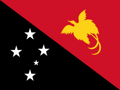 "The flag of Papua New Guinea, where a professor known as the ""British Indiana Jones"" has tracked a tribal people identifying itself as a"" Lost Tribe of Israel."" Credit: Wikimedia Commons."
