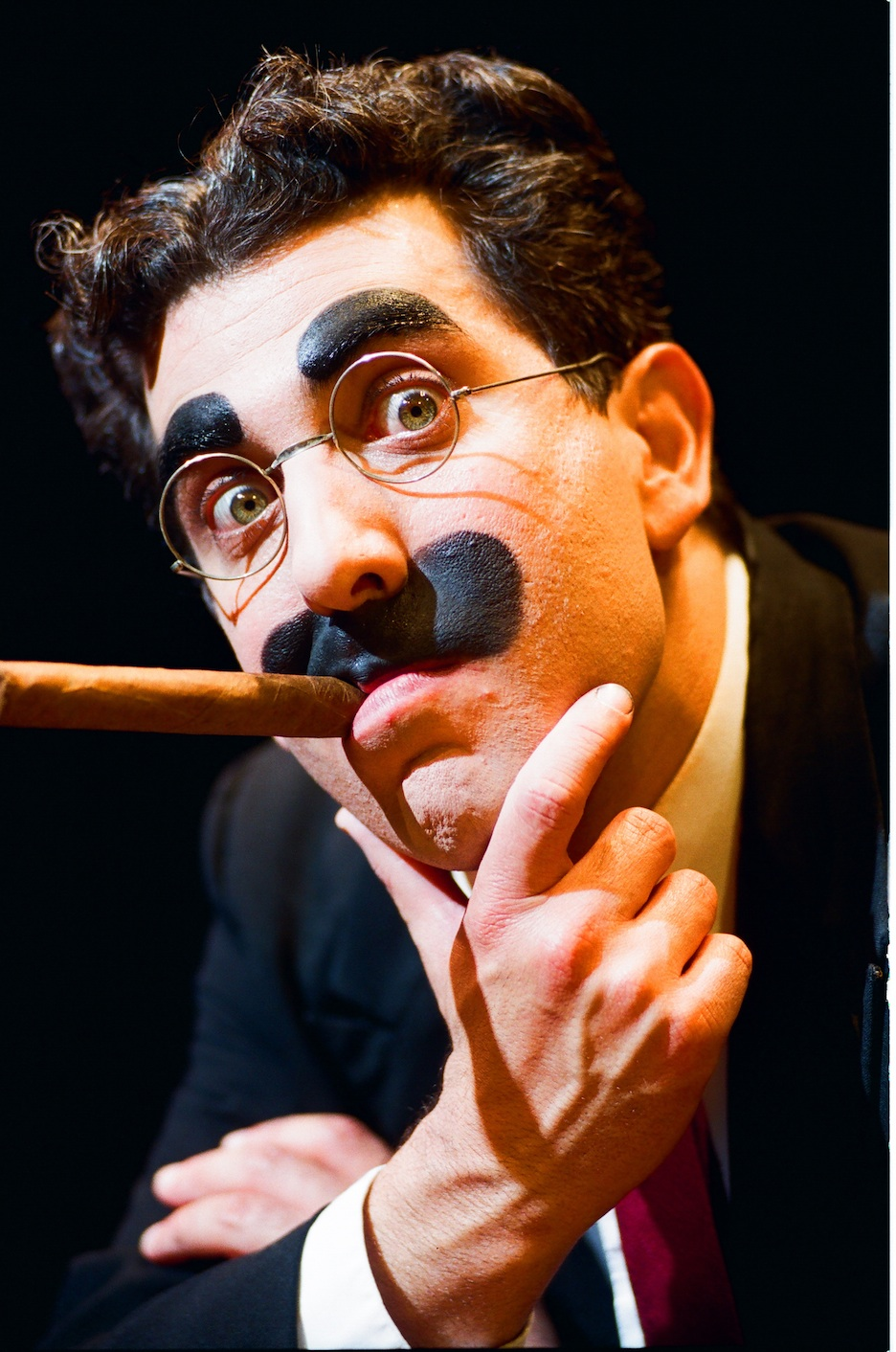 Click photo to download. Caption: Frank Ferrante, with cigar, as Groucho Marx. Credit: Drew Altizer.