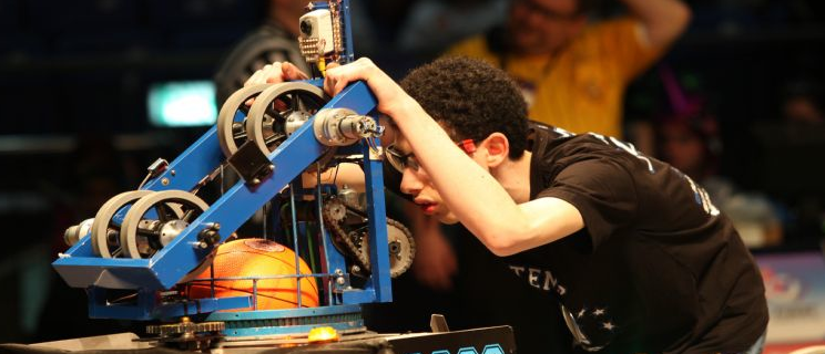 Click photo to download. Caption: High schoolers built basketball-playing robots for the recent FIRST robotics competition in Tel Aviv, a precursor to the upcoming world championships in St. Louis. Credit: FIRST Israel/Avishai Finkelstein.