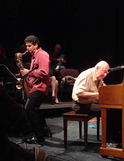 Click photo to download. Caption: Benny Sharoni in concert with legendary pianist John Coates, October 2006 in St. Johnsbury, Vermont. Credit: Courtesy Benny Sharoni.
