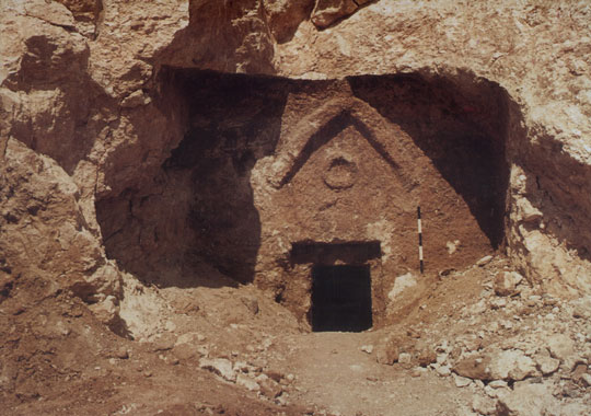 Click photo to download. Caption: An image of the chevron-adorned entrance to the Talpiot Tomb, as it was unearthed in 1980. Credit: Discovery Channel.