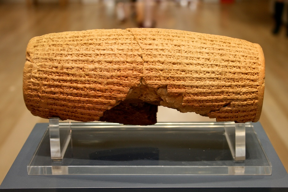 Click photo to download. Caption: The Cyrus Cylinder in the British Museum. Credit: Mike Peel.