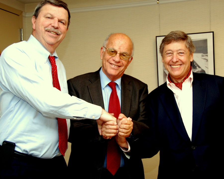 Click photo to download. Caption: From left to right: Steven Schwager, CEO and executive vice president of the American Jewish Joint Distribution Committee, Benjamin J. Albalas, president of the Jewish community of Athens, and Alberto Senderey, director general of JDC Europe and Latin America. JDC held a press conference with Albalas on Tuesday in New York. Credit: Maxine Dovere.
