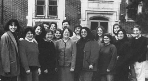 Click photo to download. Caption: Front row fourth from left is Rabbi Sally Priesand, on a visit to Hebrew Union College-Jewish Institute of Religion that marked the 25th anniversary of her graduation. Credit: Karla Goldman.