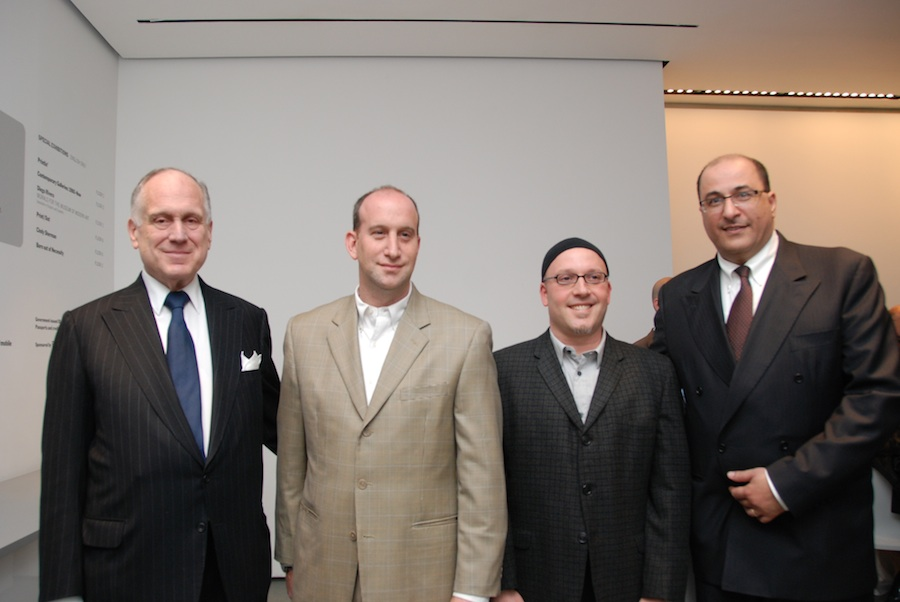 "Click photo to download. Caption: Ronald Lauder (left) with ""Follow Me"" producers Ari Daniel Pinchot and Jonathan Gruber, and Consul General of Israel in New York Ido Aharoni (right), at a recent screening of the film on Yoni Netanyahu's life. Credit: Maxine Dovere."