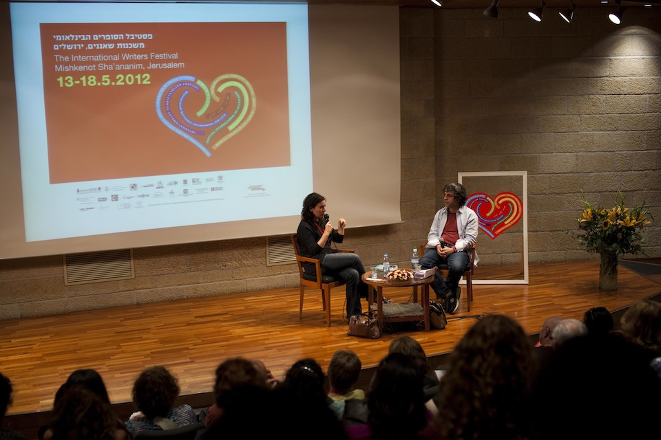 Click photo to download. Caption: Aimee Bender and Israeli short story writer Etgar Keret on stage at the third International Writers Festival in Jerusalem. Credit: Michal Patel.