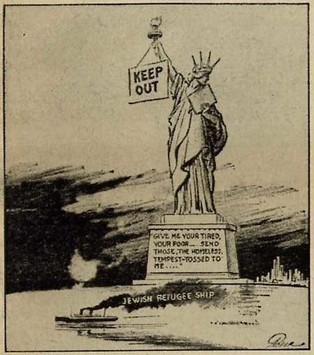 "Fred Packer's cartoon was published in the New York Daily Mirror on June 6, 1939, alongside an editorial titled ""Ashamed!"" The editorial asserted that the Statue of Liberty ""hides her face in shame today as our now stern shores send back this refugee ship."""