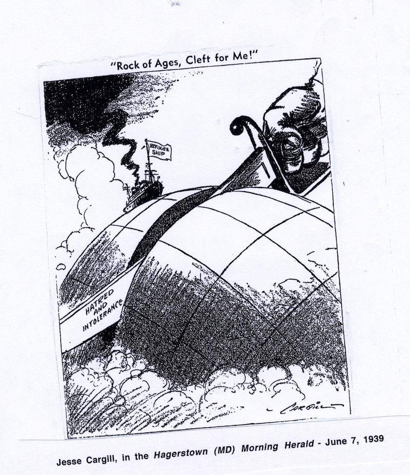 Jesse Cargill's cartoon (for the King Features Syndicate) on June 7, 1939, invoked the well known Protestant hymn about taking shelter in God.