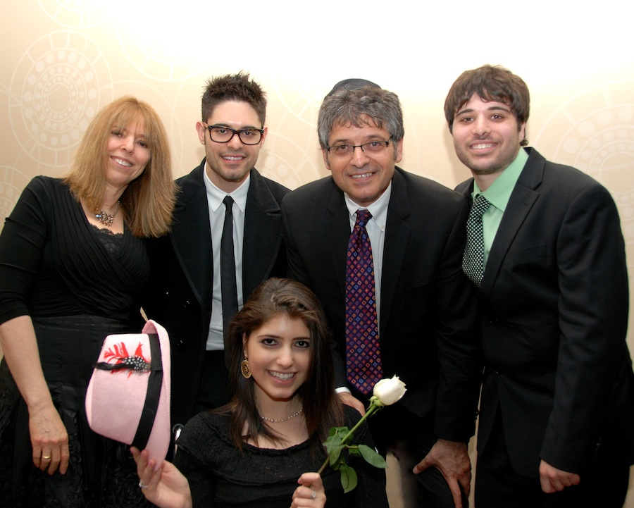 "Click photo to download. Caption: The Bibring family at Chai Lifeline's June fundraiser in New York. In front, cancer patient and Chai Lifeline ""warrior, "" Roni. In back, her mother Inbar, brother Orr, father Yoram, and brother Alon. Credit: Maxine Dovere."