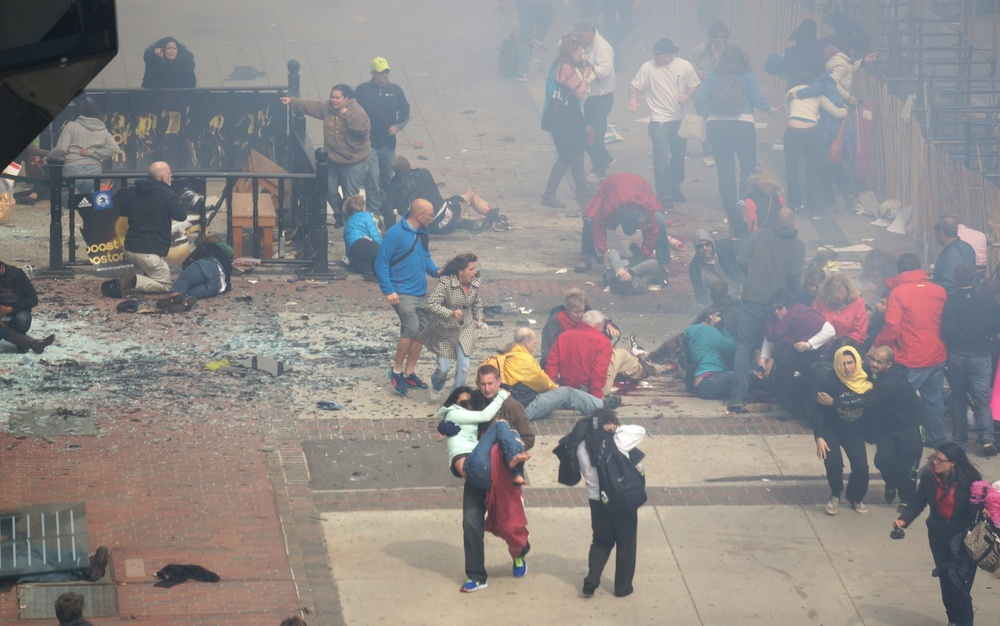 The aftermath of the Boston Marathon explosions. Credit: Wikimedia Commons.