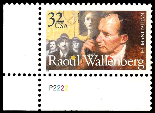 Click photo to download. Caption: The Raoul Wallenberg U.S. postage stamp. Credit: The David S. Wyman Institute for Holocaust Studies.