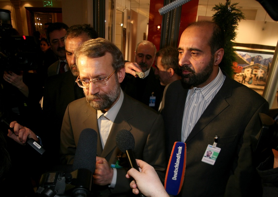 "Asked at the 2007 Munich Security Conference whether he endorsed Mahmoud Ahmadinejad's denial of the Holocaust, Iranian official Ali Larijani (pictured here answering questions at that conference's press session) answered that it was an ""open question"" as to whether the Nazi slaughter of the Jews had taken place. Larijani's statement indicates that the real challenge in the Middle East is ideology, writes JNS.org columnist Ben Cohen. Credit: Sebastian Zwez."