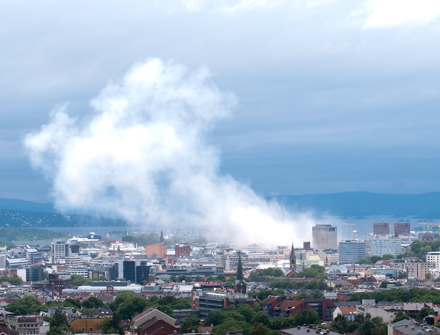 Click photo to download. Caption: A view of Oslo, Norway, following the July 2011 car bombing that killed eight. Another attack the same day in Norway killed 69. Norwegian sociologist Johan Galtung publicly blamed the Israeli Mossad for the massacre, which was committed by right-wing extremist Anders Behring Breivik. Credit: N.Andersen.