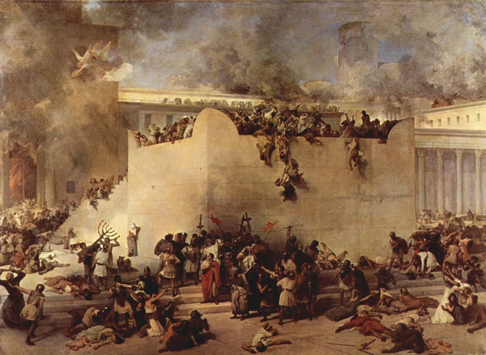 "Click photo to download. Caption: The destruction of the Temple of Jerusalem, oil on canvas, by Francesco Hayez. Both the first and second iterations of the ""Beit HaMikdash"" were razed on the Ninth of Av, hundreds of years apart. Credit: Francesco Hayez."