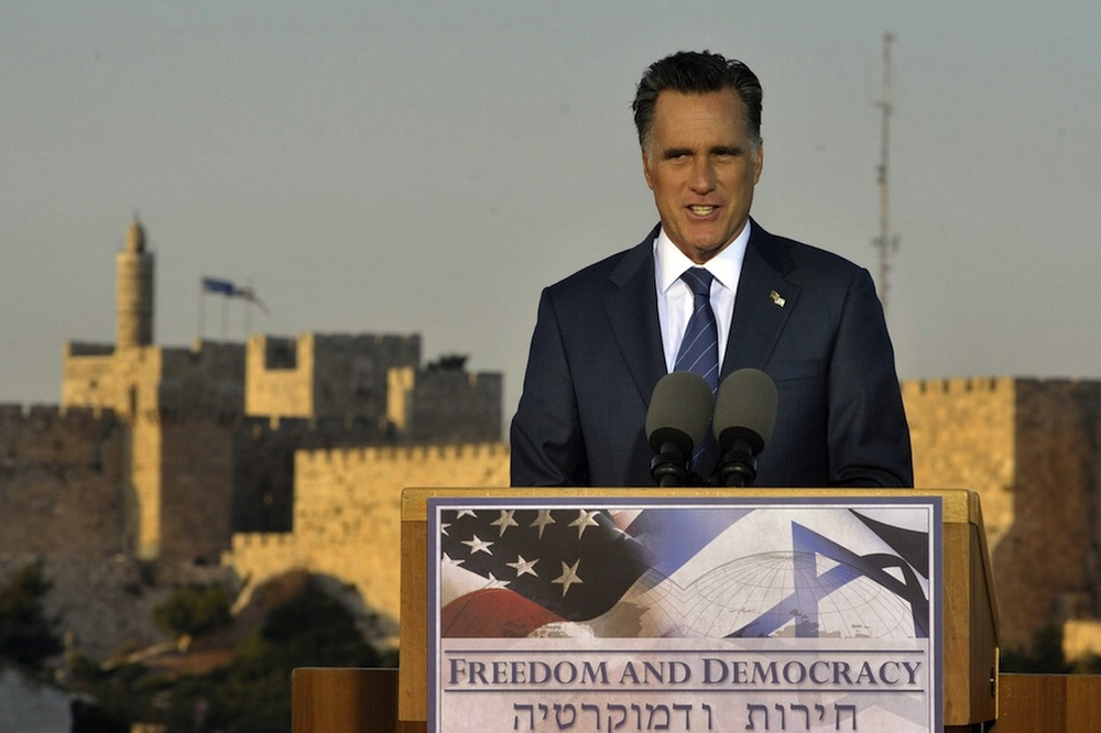 Click photo to download. Caption: The Tower of David in Jerusalem's Old City is seen in the background as Republican presidential candidate Mitt Romney speaks on Sunday. Credit: Yoav Ari Dudkevitch/FLASH90.