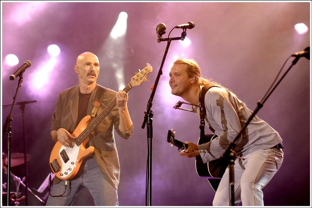 Click photo to download. Caption: At left is Tony Levin, the famed Jewish bassist, seen performing with Kevin Parent. Credit: Victor Diaz Lamich.