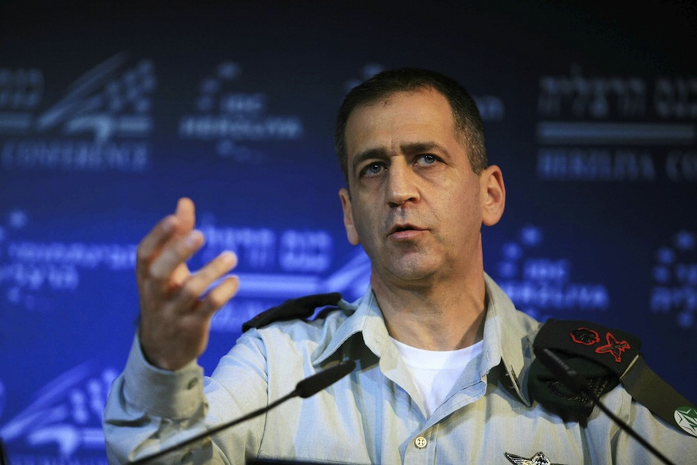 Click photo to download. Caption: IDF Military Intelligence Director Major General Aviv Kochavi speaks at the Interdisciplinary Center in Herzliya, Israel, Feb. 02, 2012. Credit: Yehoshua Yosef /Flash90.
